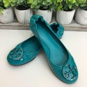 Tory Burch Blue Patent Leather Reva Ballet Flats